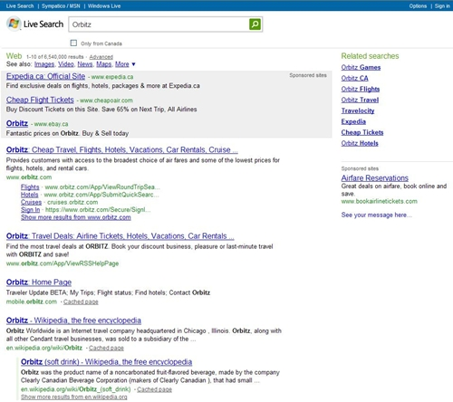 Orbitz Live Search Screenshot
