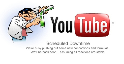 YouTubes Scheduled Downtime Screen