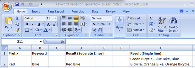 Keywork Variation Generator in Excel