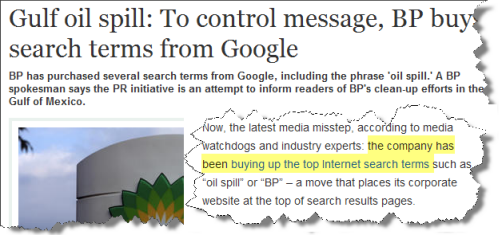 Gulf oil spill news about BP SEO & PPC