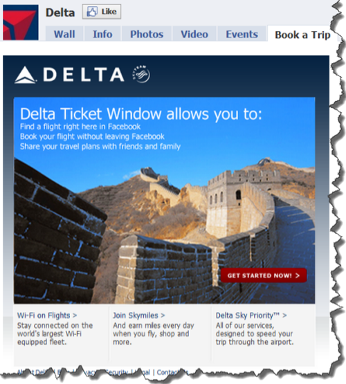 Delta Airlines Ticket Window on Facebook