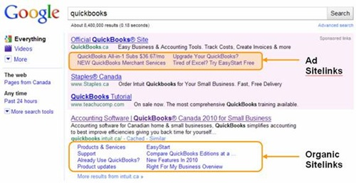 AdWords adds Sitelinks to ads