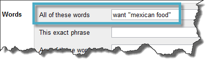 Words - Want Mexican Food