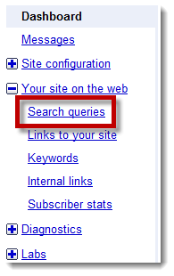 Google Webmaster Tools - Search Queries