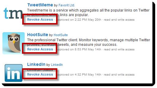 Twitter Apps - Revoke Access
