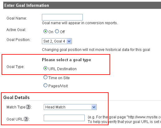 Conversion Goal Destination URL's in Google Analytics