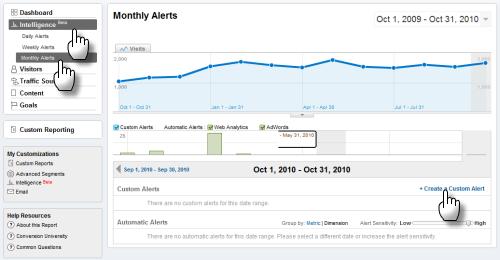 Screengrab: start to set up a custom alert