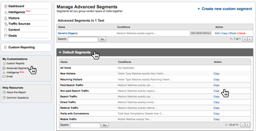 Screenshot: How to copy a Google Analytics advanced segment