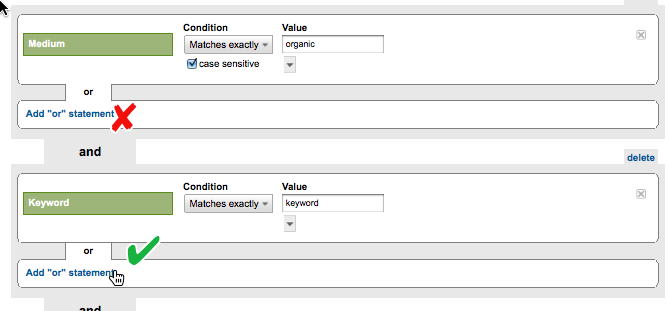 Screenshot: add an or statement in GA Advanced Segments