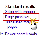 Enabling Google Page Previews