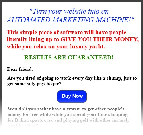 example of sleazy landing page
