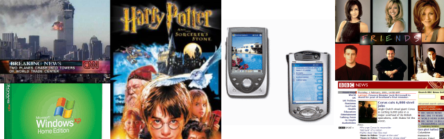 2001: WTC, Windows XP, Harry Potter, HP Pocket PC, Friends, BBC News