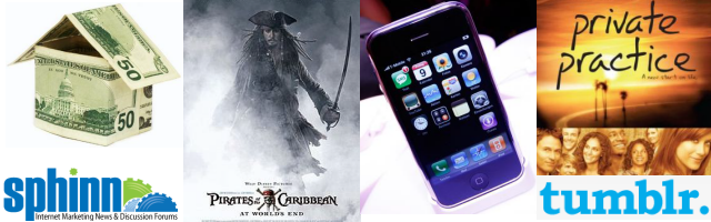 2007: subprime economic crisis, Sphinn, Pirates of the Carribean, iPhone, Private Practice, tumblr