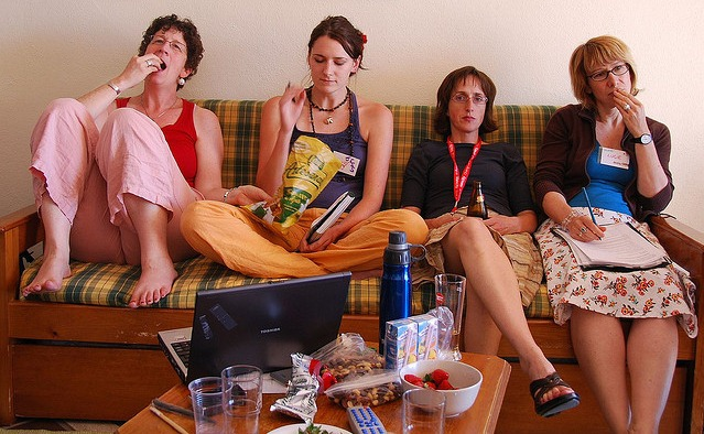 4 women on a couch waiting for inspiration
