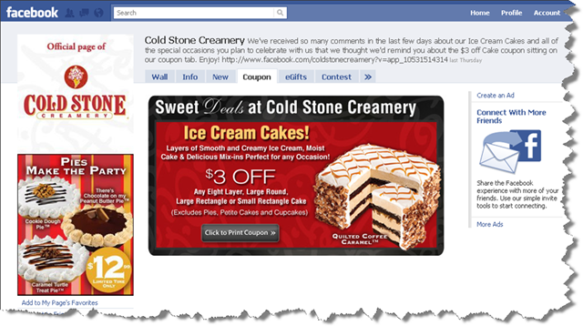 ColdStone Bakery Facebook Page