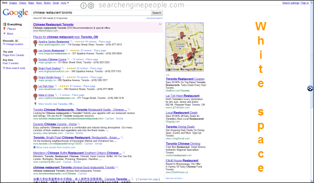 Google SERP test: no left margin?