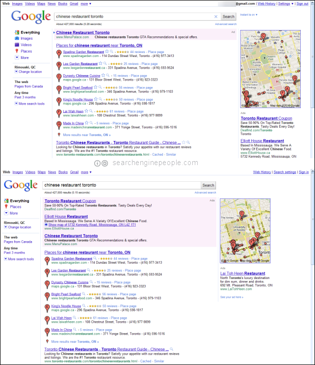 Google margin SERP test before & after