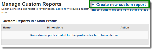 Create New Custom Report