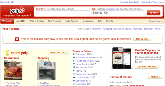 Yelp Canada home page