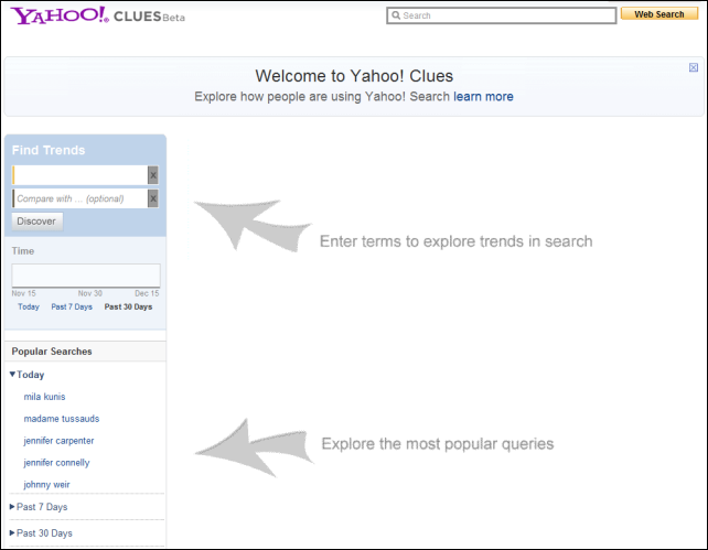 Yahoo Clues landing page