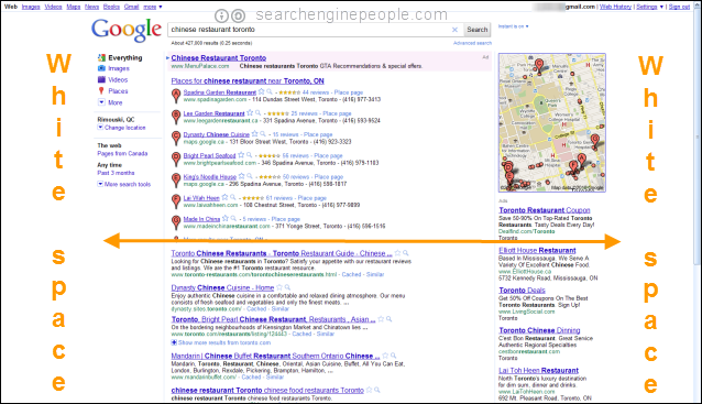 Google regular SERP: margins left & right
