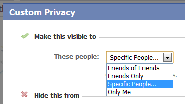 Custom privacy on Facebook