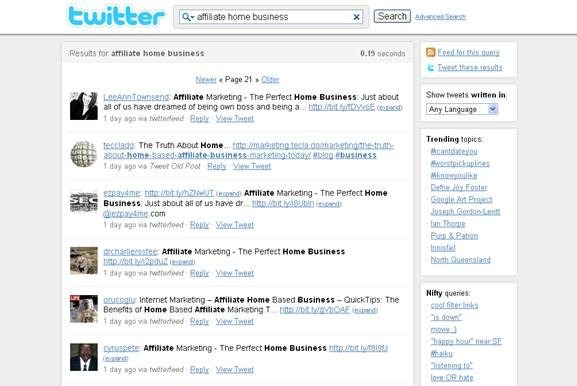 Twitter real time search