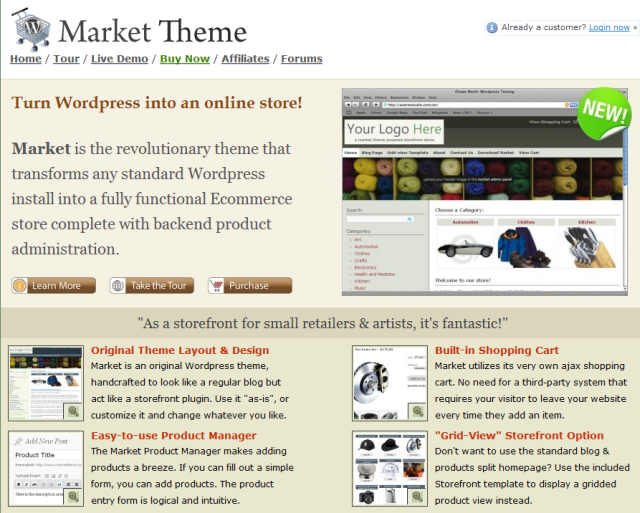wordpress market theme