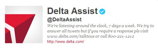 Delta Assist Twitter account