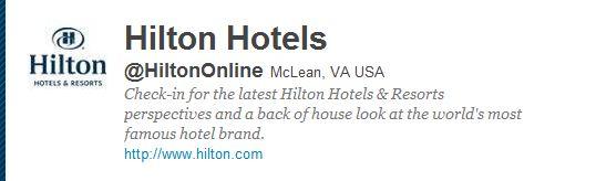 Hilton Twitter account