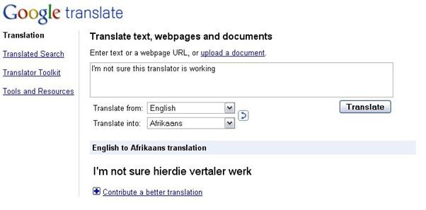 English to afrikaans essay translation