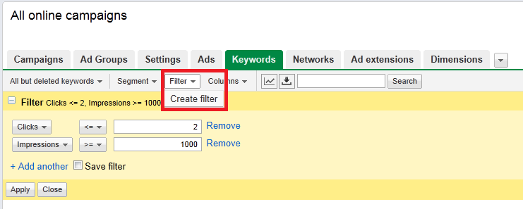 Keyword Filters = Fast PPC Optimization