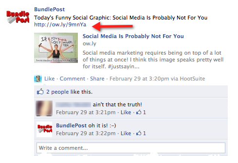 Search Engine People refers to BundlePost's Facebook tendancies as good examples for those working with social media professionals