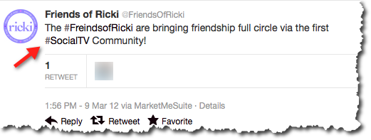 Search Engine People refers to @FriendsofRicki as a good example of using effective tweets