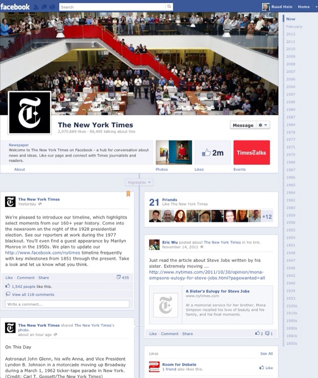 New York Times' Facebook Timeline