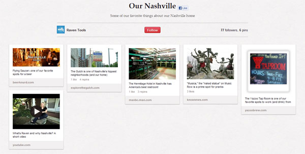 Raven Tools Nashville Pinterest Board