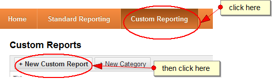 click on custom reports tab and then on new custom report button