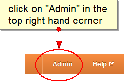 click on admin in the upper right hand corner
