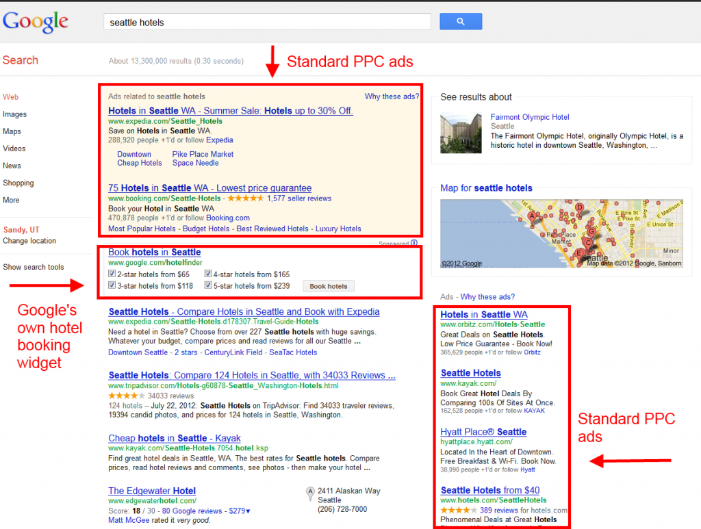 Seattle Hotels Google SERP