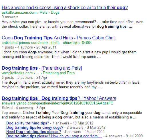 Lots of forums, Yahoo Answers on dog training tips