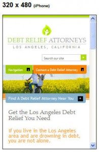 Debt Relief Attorneys, Los Angeles, CA on iPhone