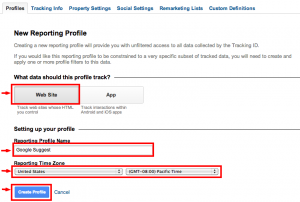 Google Analytics New profile 2