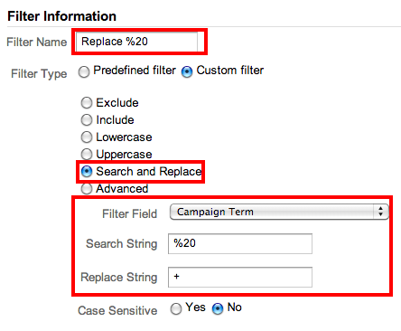 Google Analytics filter spaces