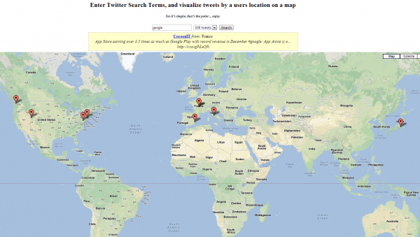 "Twitter Map search for ""google"""