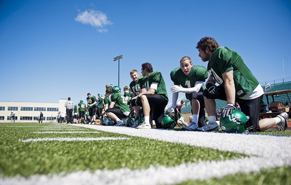 The University of Saskatchewan Huskies Football team practices at Potash Stadium at the University of Saskatchewan 2011-05-01
