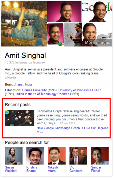 Amit Singhal Knowledge Panel