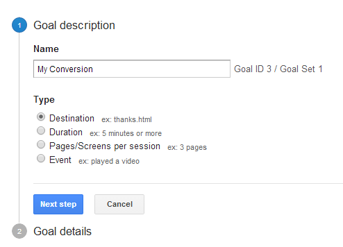 Google Analytics Goals 1
