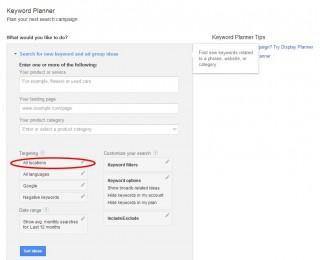 Google Keyword Planner Geo Targeting