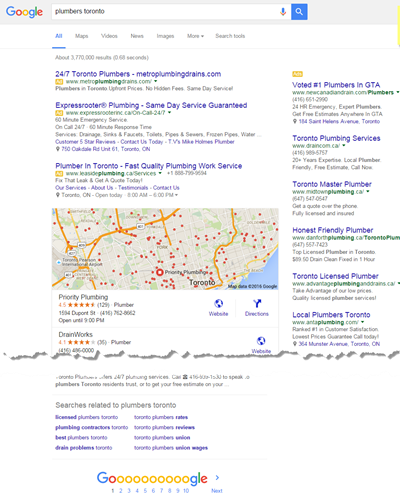 Old Adwords Google SERP layout