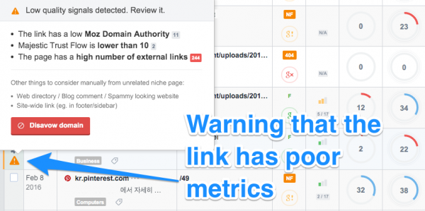 warning for bad backlink